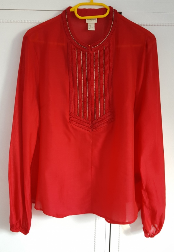 Nowa bluzka koszulka H&M 42 XL czerwona tunika haft koraliki