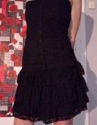 Czarna gotycka sukienka z koronki L...