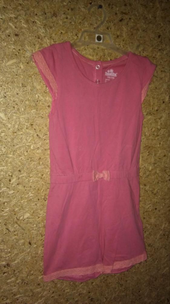 Różowy letni bawełniany kombinezon 110 116 cm