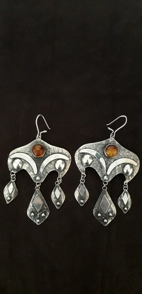 Stare srebrne kolczyki z bursztynami XXL