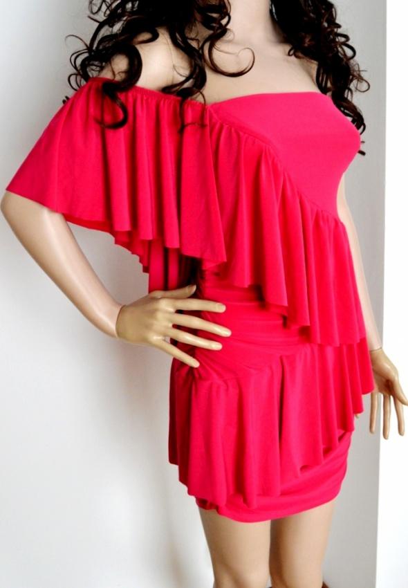 Suknie i sukienki SUKIENKA FALBANA MINI FUKSJA OŁÓWKOWA FALBANKI S M