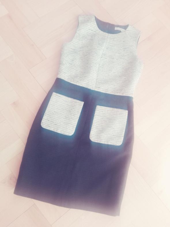 Szaro czarna sukienka ołówkowa z zamkiem zip S M