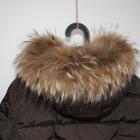 Włoska kurtka kaczy puch brąz z naturalnym futrem