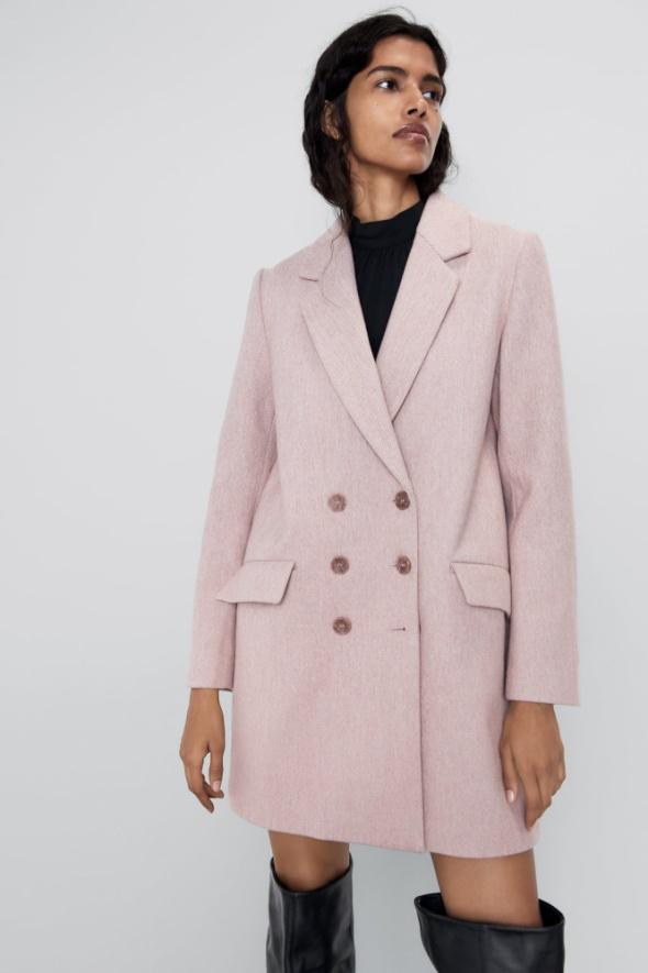 Zara płaszcz dwurzędowy różowy nowy M 38...