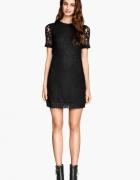 Czarna sukienka z koronki hm s