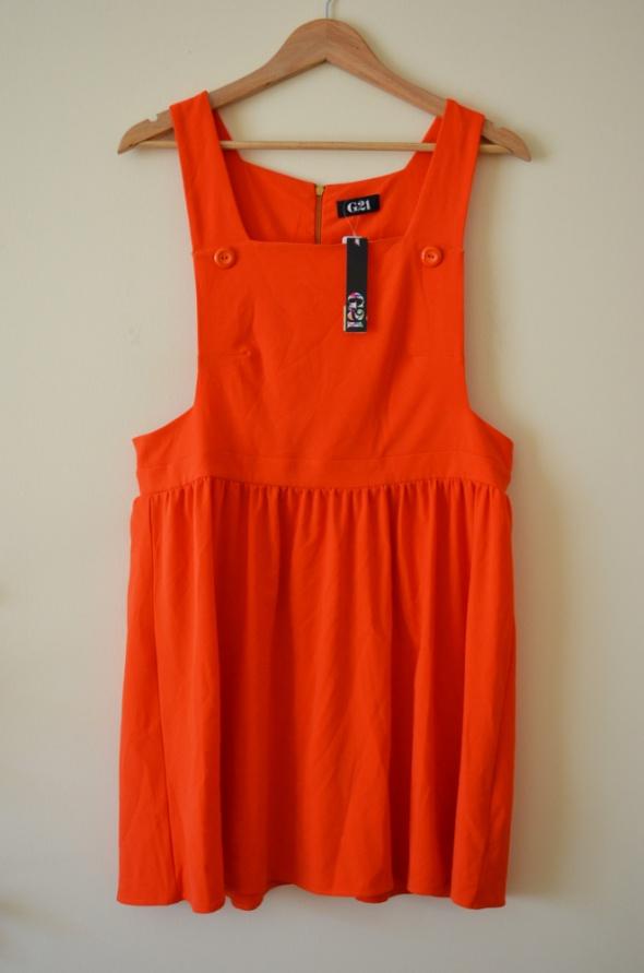 Pomarańczowa sukienka spódniczka ogrodniczka NOWA...