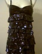 NOWA Fioletowa sukienka cekiny...