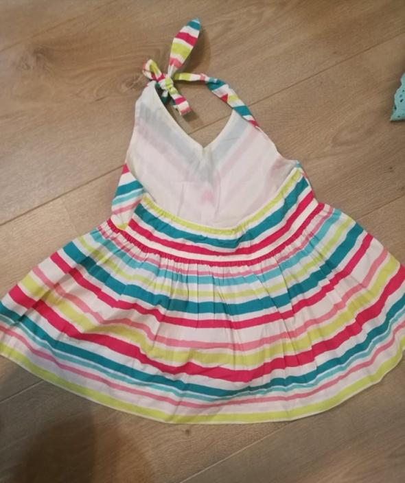 Bawełniana kolorowa sukienka wiązana na szyi 140cm