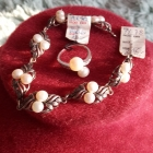 Komplet srebrny pierścinek i bransoletka z perłami