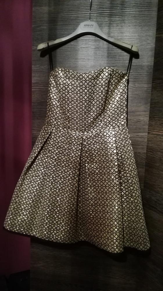 Sukienka rozkloszowana złoto czarna...