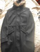 Nowy czarny płaszcz parka z wełną Mohito M