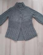 Szary sweter warkocz modny rękaw XS S M L...
