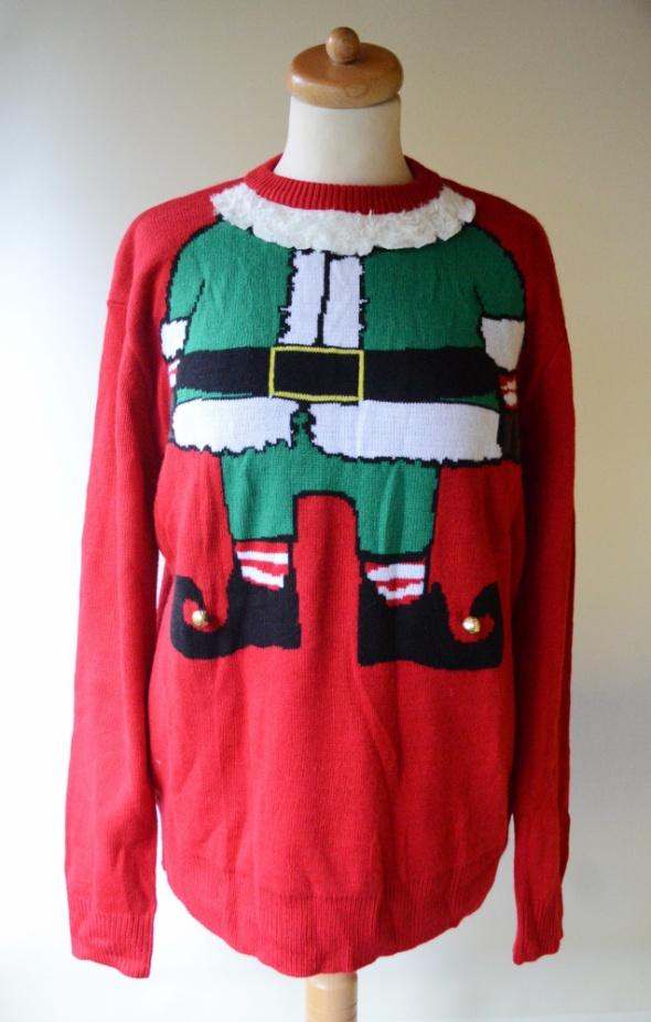 Sweter H&M Święty Mikołaj M 38 Święta Czerwony Men