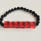 Czarno czerwona hand made bransoletka