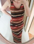 letnia długa sukienka maxi brazowa etno boho...