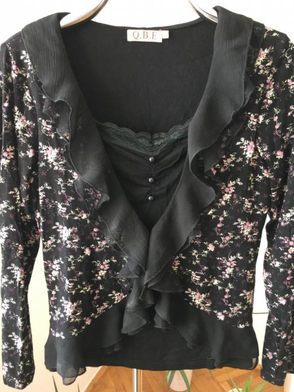 Czarna elegancka bluzeczka w kwiatki rozm XL