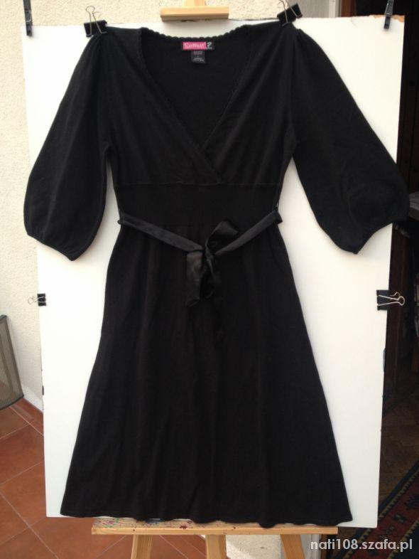 Czarna dzianinowa sukienka rozm 38 40
