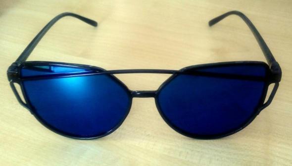 Okulary damskie lustrzanki kocie oczy niebieskie