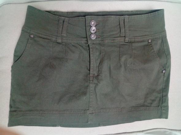 Jeansowa mini khaki 38 szeroki pas...