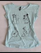 SINSAY miętowa bluzeczka bluzka z nadrukiem rozmiar L...