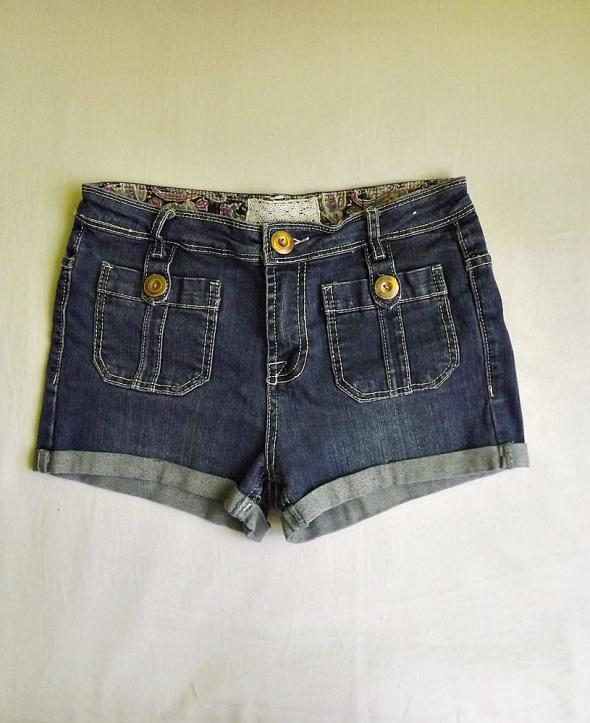 Spodenki Denim CO ciemne jeansowe szorty regular waist