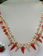 Koral łososiowy i kremowe perły duet w srebrze...