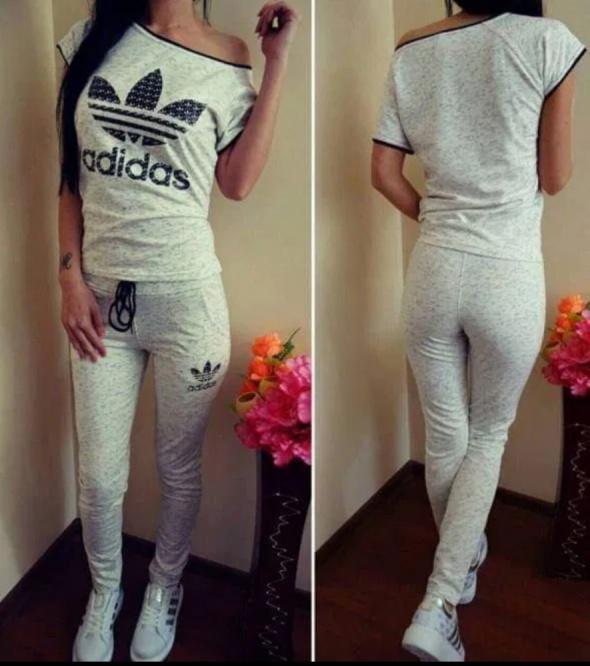 Dres zestaw damski spodnie t shirt s m logo Adidas