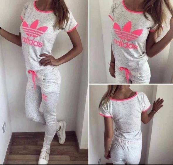 Dres zestaw damski spodnie tshirt s m logo Adidas