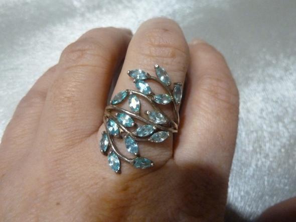 pierścionek srebrny Rosyjski akwamaryn...