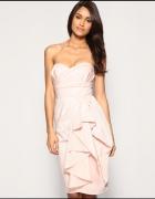 ASOS elegancka sukienka różowa drapowana XS
