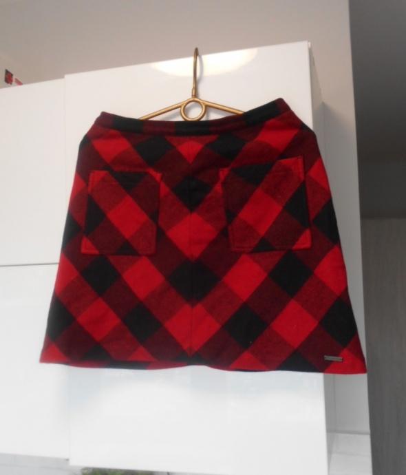 Superdry spódniczka wełniana w kratkę kraciasta czerwona