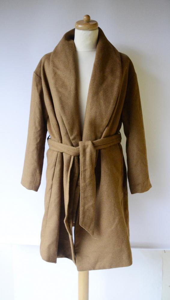 Płaszcz NOWY H&M XL 42 Brązowy Waterfall Karmelowy Brąz...