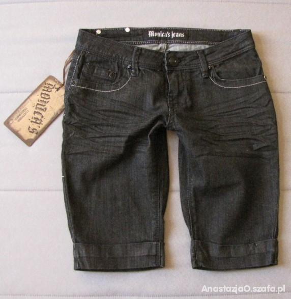 Spodenki MONICA JEANS czarne jeansowe spodenki NEW S