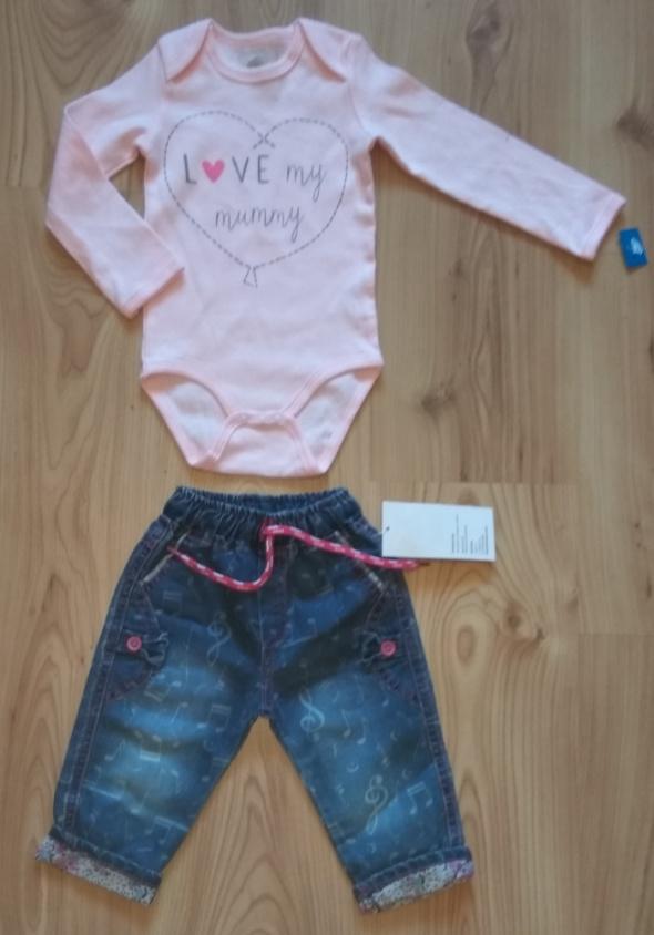 Komplety Nowe rózowe body z długim rękawem i jeansy 80
