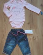 Nowe rózowe body z długim rękawem i jeansy 80...