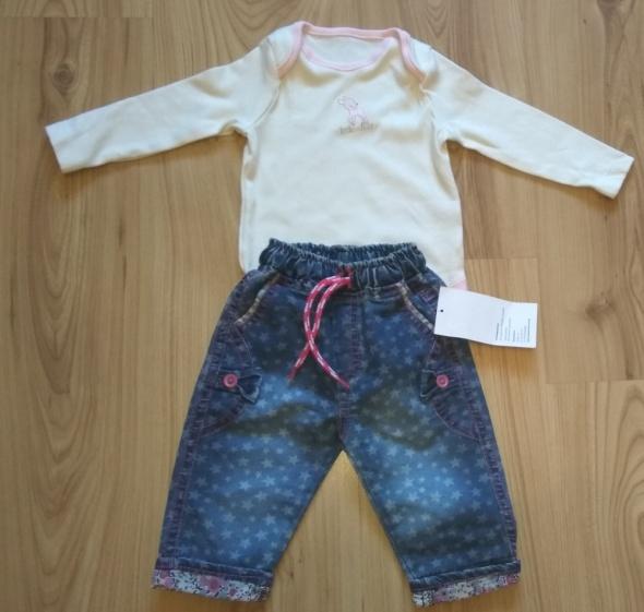 Kremowe body z sarenką i spodnie jeansowe 68
