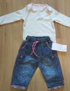 Kremowe body z sarenką i spodnie jeansowe 68...