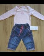 Różowe body sarenka i spodnie jeansowe 68...