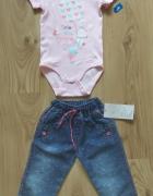 Nowe jasno różowe body i spodnie jeansowe 92...