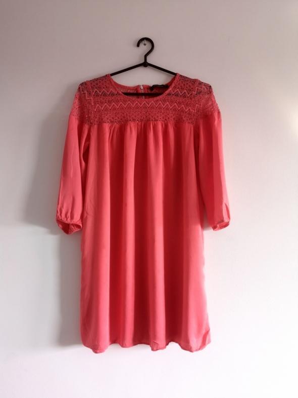 sukienka koralowa S M L boho reserved nude koronka lace oversiz...