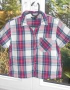 Topshop flanelowa koszula w kratę krótki rękaw kra...