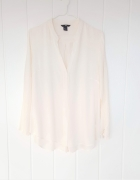 Elegancka bluzka H&M 44 XXL 2XL kremowa ecru do biura pracy lek...