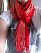 Szalik podwójny frędzle czerwony różowy...