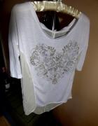 Biała bluzka elegancka złoty nadruk serce luźna S...