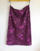 Długa spódnica w kwiaty midi maxi fioletowa różowe...