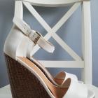 Stradivarius białe sandały koturny espadryle pleciony spód jak nowe złote zapięcie 37