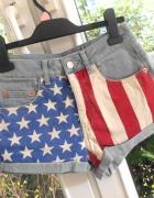 Topshop szorty flaga USA spodenki jeans jeansowe...
