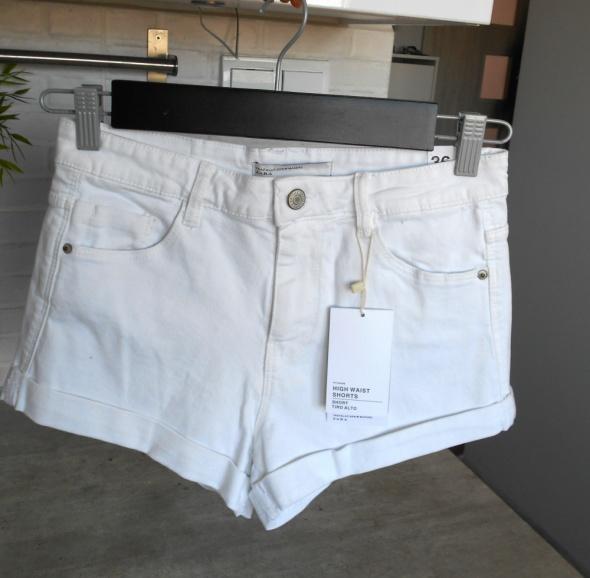 Spodenki Zara nowe białe szorty spodenki jeansowe jeans high waist wysoki stan