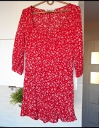 Zara czerwona sukienka floral falbanka kwiaty...