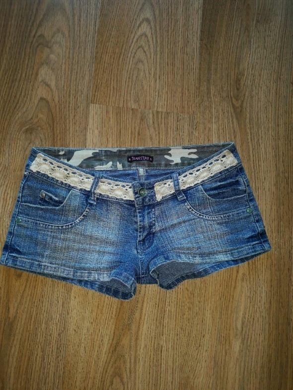 Spodenki Krótkie jeansowe spodenki z koronką S